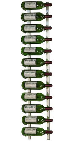 VintageView - WS41-P - 12 Bottle Wall Mounted Metal Hanging Wine Rack - 4 Foot (Brushed Nickel)