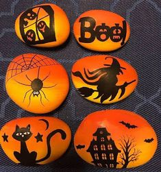 Easy Halloween Crafts for Kids to Make - Rock PaintingYou can find Halloween and more on our website.Easy Halloween Crafts for Kids to Make - Rock Painting Halloween Crafts For Kids To Make, Halloween Rocks, Halloween Tags, Kids Crafts, Halloween Decorations, Halloween Scarecrow, Women Halloween, Kids Diy, Decor Crafts