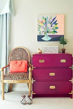 Really love the chair  leopard chair and the fuchsia drawer