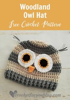 Crochet Woodland Owl Hat Free Pattern Crochet Woodland Animal Hat Series on Crochet For You. Crochet Woodland Owl Hat has a modern look with stripes and available in toddler size. Crochet Animal Hats, Crochet Hats For Boys, Crochet Owl Hat, Free Crochet, Booties Crochet, Crochet Toddler Hat, Crochet Crown, Quick Crochet, Crocheted Hats