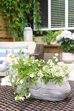 Lots of beautiful outdoor patio design ideas. / #patio #summerpatio #backyardpatio #patiofurniture #patiodecor #patiodesign Cement Table, Patio Table, Garden Oasis, Garden Spaces, Dining Chair Cushions, Outdoor Cushions, Backyard Retreat, Backyard Patio, Outdoor Patio Designs