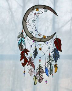 Atrapasueños vidrieras vidrio Sol Catcher por charlottechamplin