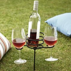 Plant your Happy Hour at your favorite spot with this wine stake! pinned by wickerparadise.com