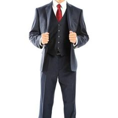 Rivelino Men's Navy Blue and Black Pinstripe Three Piece Wool Suit, Size: 42L