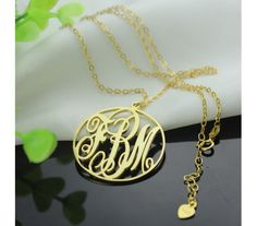 Celebrity Monogram Necklace in Gold Plated