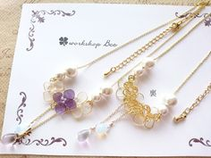 雨に紫陽花ネックレス
