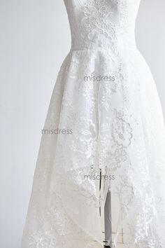 Sheer Illusion Neckline High Low Ivory Lace Wedding dress Bridal Gown