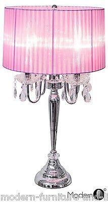 Beau Crystal Droplet Table Lamp Pink ShadeProduct Description The Beaumont Table  Lampu2026