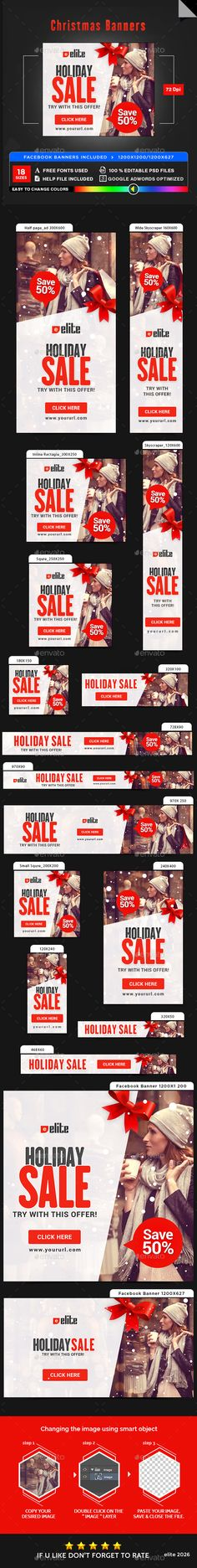 Christmas Banners Template PSD #ads #xmas