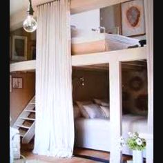 Bunk beds for teenage girls~love this if/when the girls have to share a room.