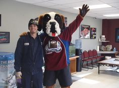 Valentines surprise for one of our mechanics by his loving girlfriend! Bernie the Colorado Avalanche mascot Complete Auto Repair www.car-lakewood.weebly.com