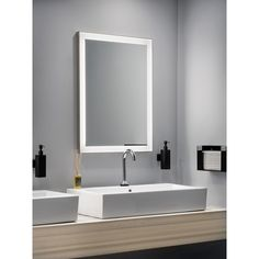 "Ryame™ 24"" Lighted Mirror Silver | Kichler Lighting Backlit Mirror, Led Mirror, Mirror With Lights, Lighted Mirror, Minimalist Mirrors, Modern Powder Rooms, Bathroom Shelf Decor, Powder Room Design, Black Mirror"