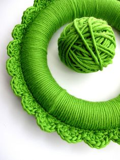 crochet around a styrofoam wreath and trim it with shell stitch