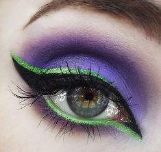 Products not listed: Urban Decay Glide on Eyeliner in Freak and Psychedelic Sister, Sephora Gel Eyeliner Sealant Maleficent Makeup, Disney Makeup, Malificent, Purple Makeup, Purple Eyeshadow, Colorful Makeup, Colorful Eyeshadow, Halloween Eye Makeup, Halloween Eyes