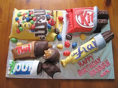 Funny pictures about Candy bar cake. Oh, and cool pics about Candy bar cake. Also, Candy bar cake photos. Unique Cakes, Creative Cakes, Creative Food, Crazy Cakes, Cute Cakes, Yummy Cakes, Fab Cakes, Chocolate Bar Cakes, Chocolate Brands
