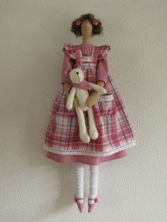 Tilda doll Cassie wearing a pink gingham fabric by Dolls2love