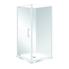 This shower features Low profile tray with 40mm upstand Tray is Centre Waste as standard but also available in Corner Waste.  1950mm high glass 6mm Standard Pivot door in a modern 1-piece design. Door is reversible (flip to fit). One piece acrylic lining. Available in White and Silva