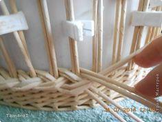 Поделка изделие Плетение Корзинка-фруктовница Бумага газетная Трубочки бумажные фото 9