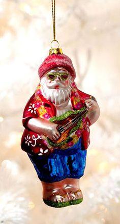 Tropical Santa Playing Ukulele Christmas Ornament Glass