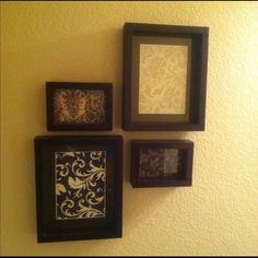 Easy wall art!!  I couldn't decide on pictures for the guest bathroom, so I used scrapbook paper instead!