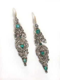 Georgian Emerald & Diamond Earrings.