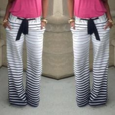 Casual Low-Waisted Drawstring Striped Loose-Fitting Women's Pants--I love all of these pants on this sight!!
