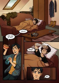 Page 1 - of a comic where percy and Annabeth are married, and Nico ends up at their house after a fight with a monster... :)