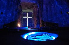 Zipaquira Salt Cathedral in Colombia...underground church carved from a salt mine...I visited this church in 1992 while on study abroad.