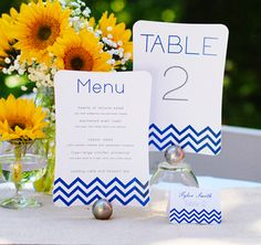 DIY Table Number + Menu Kit - printable stationery makes it so easy! @TheWeddingOutlet.com - Favors, Gifts & Accessories #theweddingoutlet