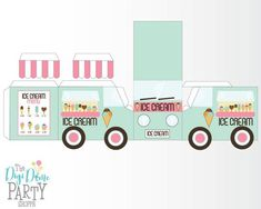 Ice Cream Truck/Van Party Printable on 1 Page Mint & Ice Cream Van, Ice Cream Party, 3d Paper Crafts, Paper Toys, Printable Box, Party Centerpieces, Diy Box, Party Printables, Mint