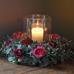Luxury Christmas Silver Pink and Red Table Wreath