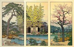 Toshi Yoshida: Triptyque - estampes shin-hanga