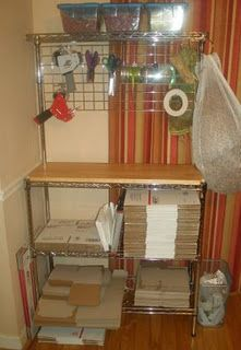 Home packing station with hanging tools