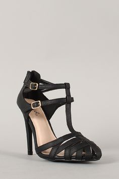 Qupid Serenity-31 Buckle T-Strap Stiletto Heel