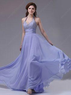 Lavender Chiffon Beading Halter Open Back Prom Dresses