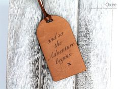 Personalized leather luggage tag by Oxee wedding travel by Oxee