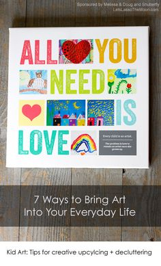Kid Art: Tips for creative upcylcing + decluttering *Great list of unique ways to display and use art in your home