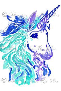Diseño de Ilustración con acuarelas- Unicornio