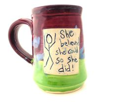She Believed Ceramic Handmade Pottery Wheel thrown by jewelpottery, $27.00