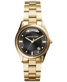 I love that it displays which day it is! Michael Kors Women's Colette Gold-Tone Stainless Steel Bracelet Watch - For Her - Jewelry & Watches - Macy's Michael Kors Rose, Michael Kors Jewelry, Michael Kors Watch, Stainless Steel Watch, Stainless Steel Bracelet, Leather Watch Box, Hand Watch, Stylish Watches, Sterling Silver Necklaces