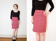 Vintage 1960s Pencil Skirt  Wool Knit Red by dejavintageboutique