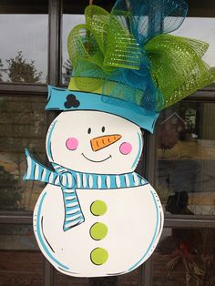 Door Hanger Snowman Door Hanger by KnockinOnWood on Etsy, $35.00