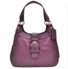 Purple Coach Soho Leather Shoulder Hobo Bag Purse Tote 17219 Plum