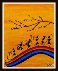 Warli Painting by Smita Sumant - Warli Fine Art Prints and Posters for Sale Madhubani Art, Madhubani Painting, Worli Painting, Acrylic Paintings, Naruto Painting, Pichwai Paintings, Ceiling Painting, Bedroom Paintings, House Painting