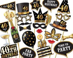40th birthday Photo Booth props  Instant Download printable