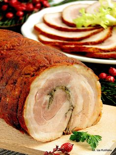 Rolada boczkowa, boczek rolowany | Smaczna Pyza Pork Recipes, Cooking Recipes, Bacon, Polish Recipes, Polish Food, Party Platters, Smoking Meat, Food To Make, Catering