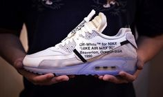 The OFF WHITE Nike Air Max 90 is part of a 10 pair collaboration between Virgil Abloh and Nike/Jordan Brand. Nike Air Max 90s, Nike Max, Nike Air Vapormax, Nike Air Force, Hypebeast, Nike Shoes Cheap, Nike Free Shoes, Jordan 11, Michael Jordan