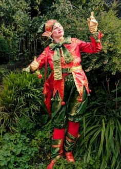 Woodland Elf living statue - alternative to the Christmas or Winter Wonderland Elf - great fun, family friendly.  Perfect for Winter Wonderland events, Christmas parties, Midsummer Nights Dream parties, Woodland events.  Available to hire across UK inc Manchester, London, Brighton, Birmingham, Leeds, Wales Christmas Elf, Christmas Themes, Wonderland Events, Winter Wonderland, Xmas Party, Christmas Parties, Stilt Costume, Woodland Elf, Balloon Modelling