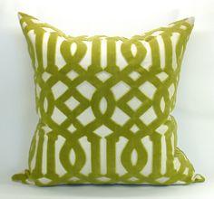 Schumacher Imperial Trellis Velvet pillow cover in Chartreuse - 18 x 18 - Missoni Mod