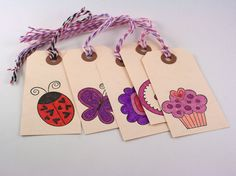 Pink Purple Stamped hand colored tags ladybug by PaperPebbles, $3.00